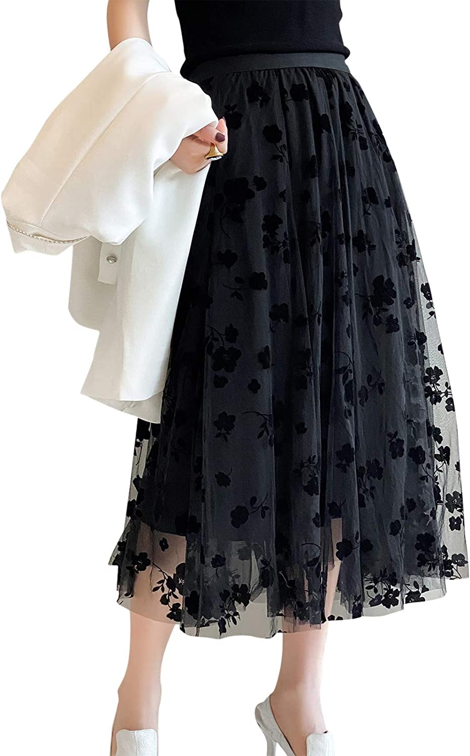 Women Tutu Tulle Skirt Elastic Layered Waist High Memphis Mall Challenge the lowest price of Japan ☆ P Floral