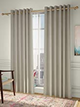 Curtain Label Set of 2- Curtain Label Simone Jacquard Eyelet Pleat Curtain (Cream, 4.5 X 5 feet (W X H))