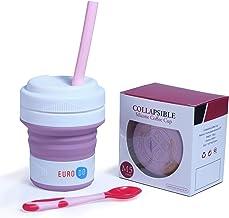 EURODO 2021 Newest koffiebeker to go met stro en lepel 450 ml - opvouwbare koffiemok - opvouwbare beker (lila)