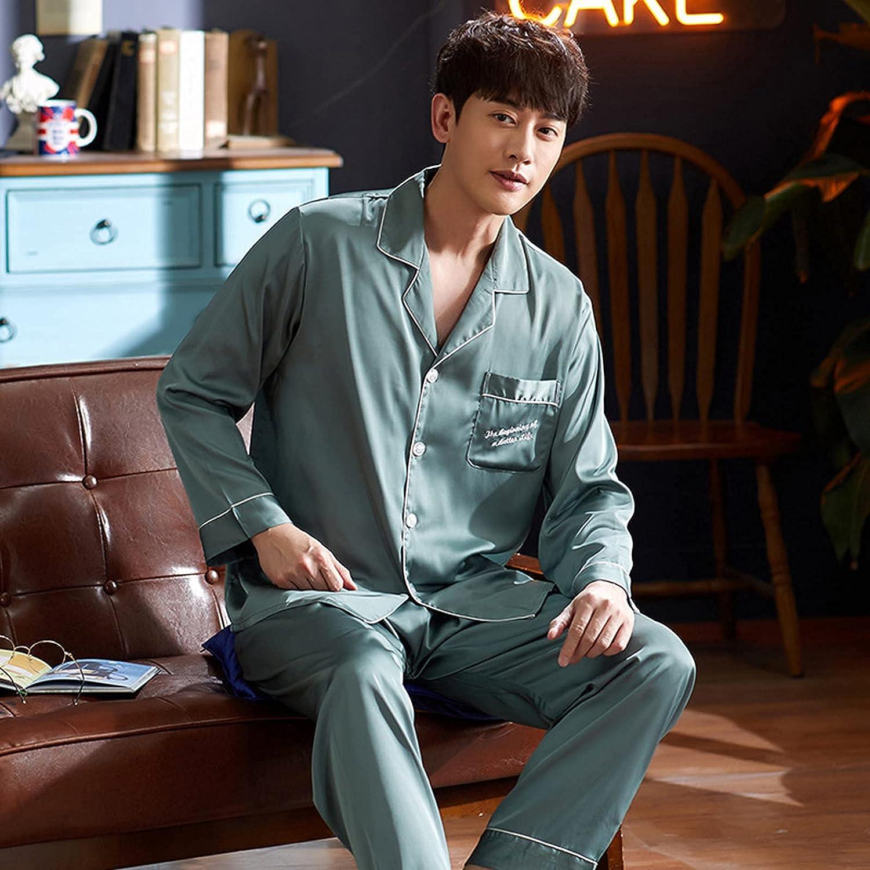 FMOGG Men Comfortable Pyjamas Long Sleeve Casual Home Wear Autumn Silk Boy Pajama Sets Leisure Sleepwear Set