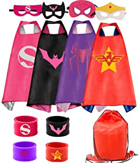 RioRand Kids Dress Up (4pcs) Superhero Capes Set &Slap Bracelets, for Boys &Girls Costumes, Birthday Party, Gifts
