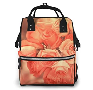 Risating Mummy Rugzak - Peach Roses Luier Tote Bag Grote Capaciteit Waterdicht Twill Canvas voor Baby Care