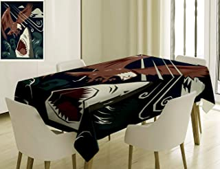 Unique Custom Cotton And Linen Blend Tablecloth Sea Animal Decor Modern Murky Motley Of The Battle Of Shark Vs Eagle Attack Fight Power Brown BlueTablecovers For Rectangle Tables, 78 x 54 Inches