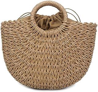 Leorealko Women Handbag Handmade Straw Woven Tote Large Capacity Summer Beach Shoulder Bag Party Shopping