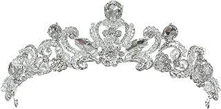 SAMK Silver Floral Arches Crystal Beads Tiara Crown T1297