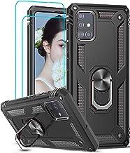 LeYi Coque pour Samsung Galaxy A51 4G avec [2 Pièces] Verre Trempé Anneau Support, Double Couche Renforcée Défense Bumper TPU Silicone Antichoc Armure Protection Housse Etui Samsung A51 Noir