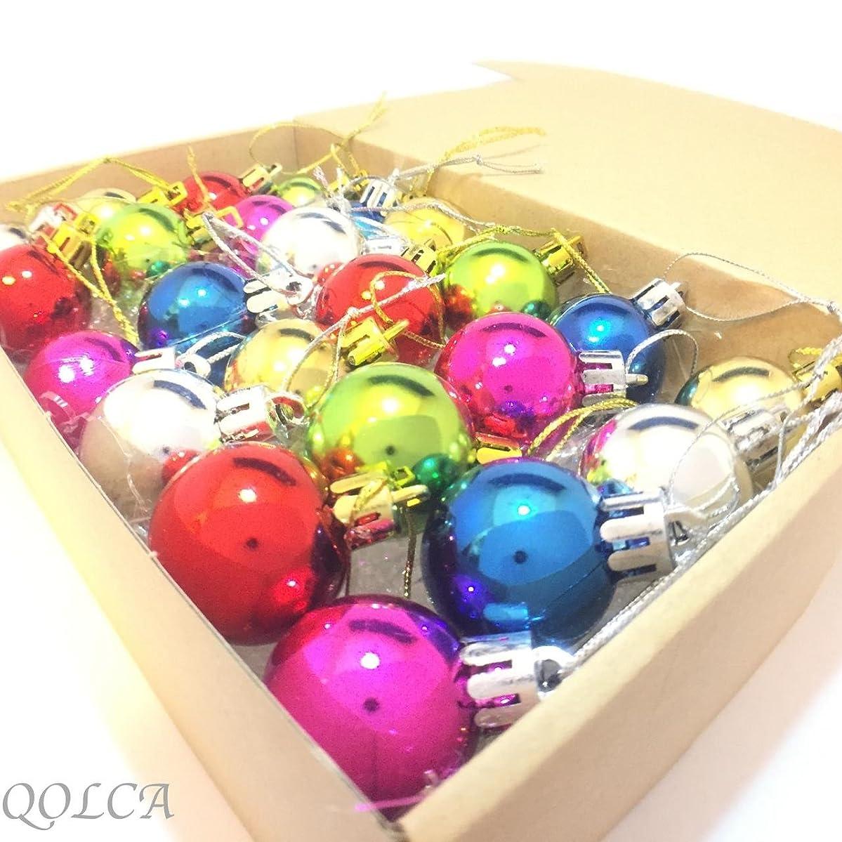 傾向対処する同情QOLCA クリスマス オーナメント ボール 3cm 24個入り(ミックスカラー)
