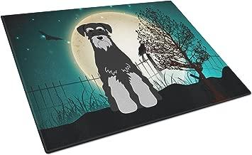 Caroline's Treasures BB2224LCB Halloween Scary Standard Schnauzer Black Grey Glass Cutting Board, Large, Multicolor