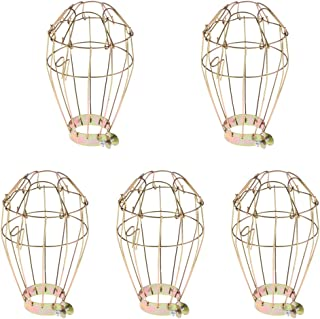 Flameer 5pcs Reptile Basking Light Iron Wire Lampshade, Reptile Terrarium Heater Mesh - Gold