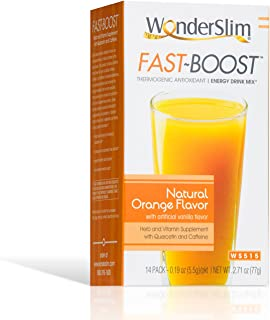 FAST BOOST Thermogenic Energy Boosting Powder Drink Mix by WonderSlim - Antioxidant Drink Mix - With Green Tea, Ginseng, Quercetin and Gingko Biloba – Natural Orange Flavor (14 packets)