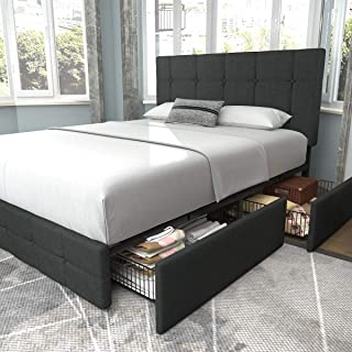 Allewie Queen Platform Bed Frame with 4 Drawers Storage and Headboard, Square Stitched Button Tufted Upholstered Mattress ...