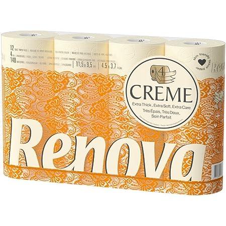 Renova Rouleaux de Papier Toilette 4Epaisseurs Parfumés Crème - Lot de 12 , 12 Unités