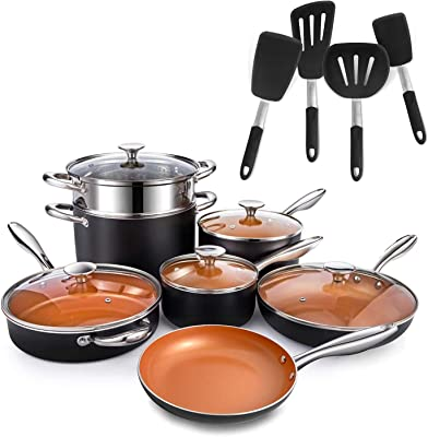 MICHELANGELO 12 Piece Copper Pots and Pans Set + 4-Piece Silicone Spatula Turner Set, Nonstick Copper Cookware Set with Ceramic Titanium Coating, Ceramic Cookware Set