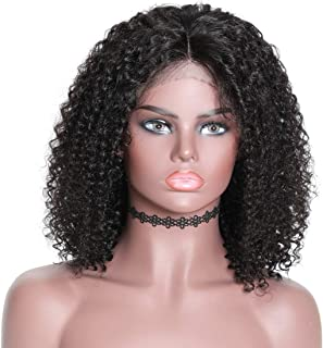 YIROO Curly Bob Lace Frontal Wig for Women,Pre Plucked with Baby Hair 150% Density Natural Hairline from Ear to Ear 13x4 Inch Hand Made Lace Black Color Can be Dyed and Bleached