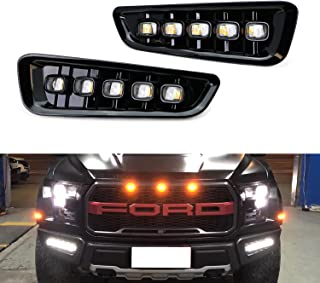 iJDMTOY White/Amber Switchback LED DRL Fog Light Kit Compatible With 2017-up Ford Raptor,  5-Lamp Assembly w/ Turn Signal Feature