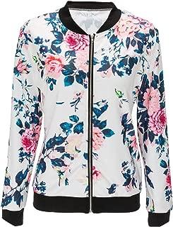 2019 Spring Flower Print Women Basic Coats Long Sleeve Zipper Bomber Jacket Casual Coat Autumn Winter Streetwear
