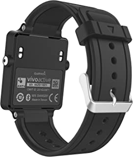 Garmin Vivoactive Watch Band, MoKo Soft Silicone Replacement Fitness Bands Wristbands with Metal Clasps for Garmin Vivoactive/Vivoactive Acetate Sports GPS Smart Watch - Black
