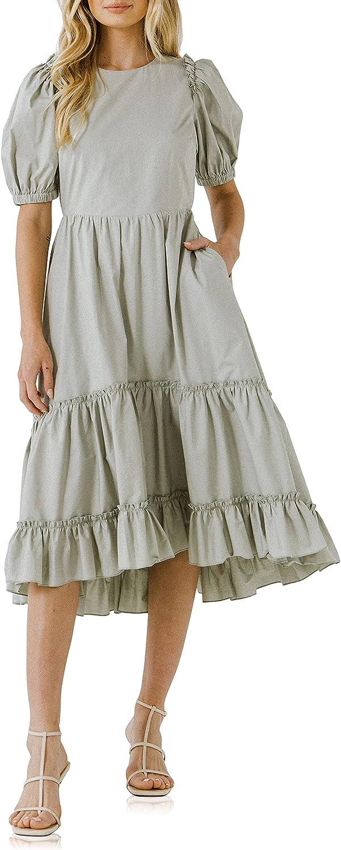 English Factory Women's Ruffle Detail Midi Dress