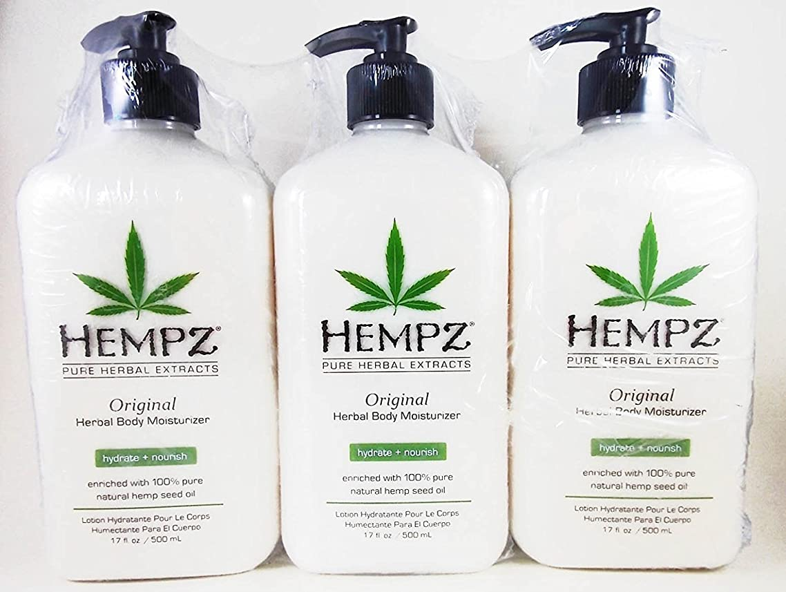 Hempz Original Herbal Moisturizer 17 Ounce Lotion 3 Pack