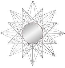 مرآة فضية لهجة الجدار شروق الشمس الهندسية المستديرة 36 بوصة