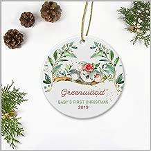Baby's First Christmas Ornament 2019 - Christmas Ornament With Name Greenwood - Christmas Tree Ornament Ceramic 3