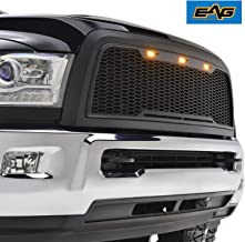 EAG Replacement ABS Upper Grille Front Hood Grill - Matte Black - with Amber LED Lights Fit for 13-18 Dodge Ram 2500/3500 Heavy Duty