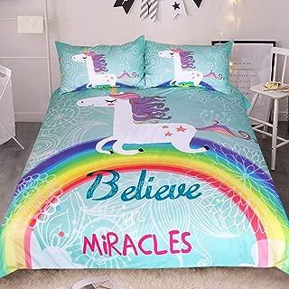 Sleepwish White Unicorn Bedding Rainbow Unicorn Duvet Cover 3 Piece Mint Green Kids Girls Cartoon Bed Set Cute Horse Gifts (Queen)