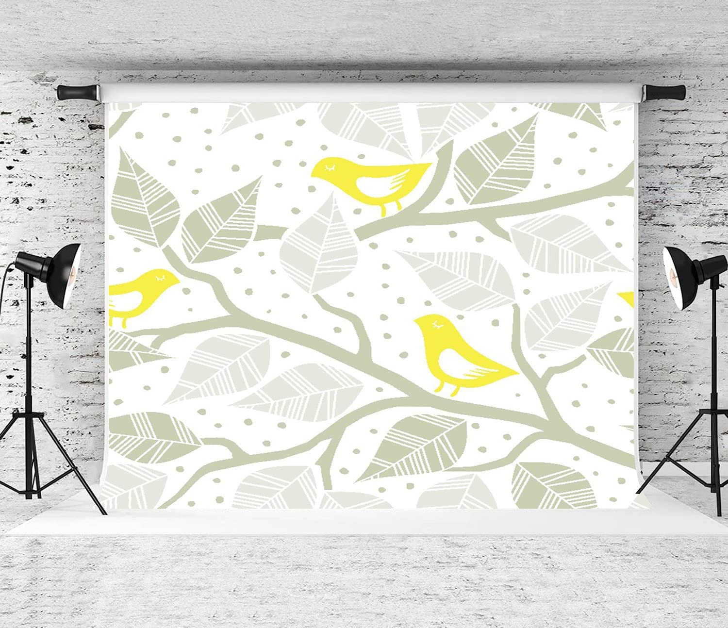 NANITHG Photography Cheap super special price Background Beige Gray All items free shipping Bird and Yellow Leaves