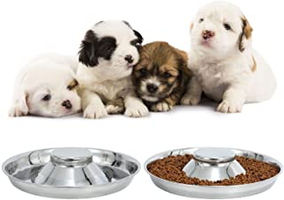 LEACOOLKEY Stainless Steel Dogs Bowls-Puppy Food/Water Bowls-Dogs Feeding Bowls for Litters Puppies-Pets Whelping Weaning ...
