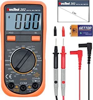 RuoShui Digital Multimeter, 2000 Counts Volt Amp Meter with AC/DC Voltage, DC Current, Resistance, Capacitance, Diode, Dual Fused for Anti-Burn and LCD Backlight Display Tester