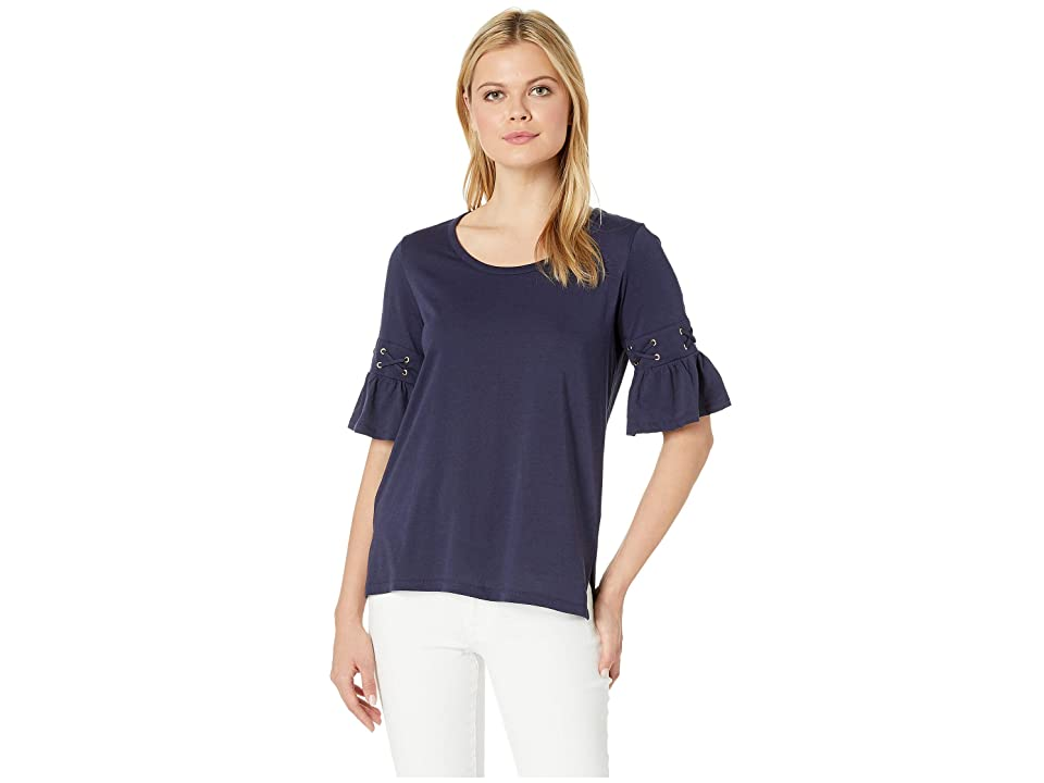 MICHAEL Michael Kors Laced Sleeve Flare Tee (True Navy) Women