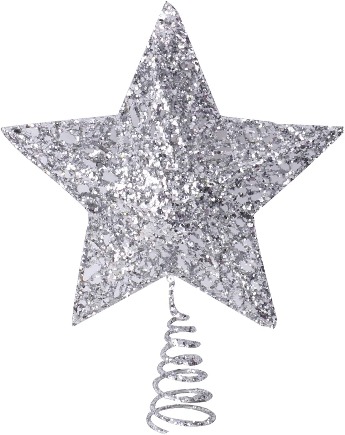 Olen 8 Inch Silver Star security Metal Christmas Dallas Mall Tree Topper