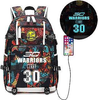 Luminous Backpack Basketball Player SC 30 Multifunction Backpack Fans Bookbag with USB Charging Port,Unisex Fashion College School Bookbag Daypack Travel Laptop Backpack