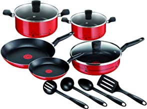 Tefal Essential 12 Piece Chef De France Cookware Set, Aluminum, Red