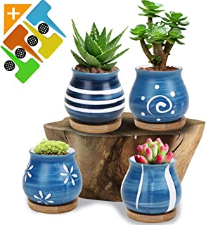 Succulent Plant Pots Succulent Planter - with Bamboo Tray Set of 4, Flower Pot with a Drainage Hole, Mini Succulent Pot for Windowsill and Office Table Decoration