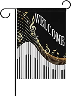 WXLIFE Welcome Music Piano Musical Notes Garden Flag 28 X 40 Large Inches, Double Sided Outdoor Yard Yall Garden Flag for Wedding Party House Home Decor