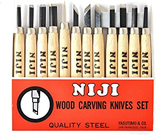 Niji Yasutomo Wood and Linoleum Cutting Set, Set of 12, Wood, 4-1/2 in handles