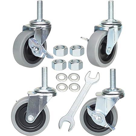 4 Threaded Stem Swivel Caster Non Marking TPR Rubber Tread 1//2-13 x 1-1//2 Stem Service Caster Brand