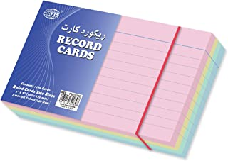 FIS Ruled Record Card Colored, 240 gsm, Assorted Color, 5 x 3 inch, Pack of 100 Pcs. - FSIC534C