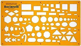 Plantilla de Dibujo Técnico - Símbolos de Círculos Cuadros Hexágonos Triángulos Rectángulos Flechas Elipses Pentágonos – para Arquitecto Ilustrador Ingeniero Estudiante Diseñador Dibujante