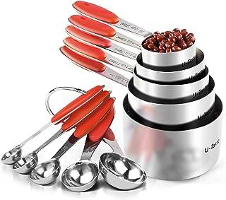 Tazas Medidoras, U-Taste Juego de 10 Tazas y Cucharas Medidoras de Acero Inoxidable 18/8, Mango de Grosor Mejorado (Rojo)