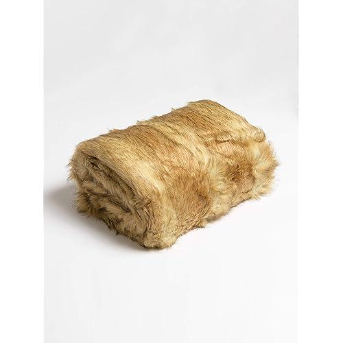 "Best Home Fashion Platinum Frost Fox Faux Fur Full Throw Blanket 58"" x 84"" - TR"