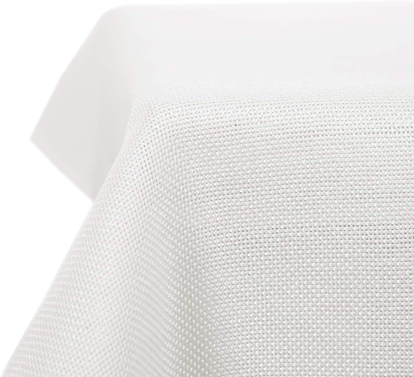 Deconovo Mantel de Mesa Rectangular Efecto Lino 130 x 220 cm Blanco