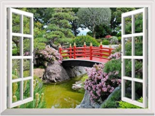 wall26 Modern White Window Looking Out Into a Red Bridge Over a Lake Surrounded by Beautiful Trees - Wall Mural, Removable Sticker, Home Decor - 36x48 inches