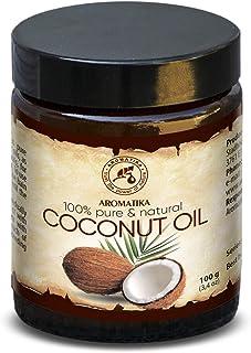 Coconut Oil 100ml - Cocos Nucifera - Indonesia - Cold Pressed - 100% Pure Coconut Oil Glass Jar - Unrefined - Intensive Care for Face - Body - Hair - Skin - Body Oil