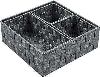 Posprica Woven Storage Box Cube Basket Bin Container Tote Organizer Divider for Drawer,Closet,Shelf, Dresser,Set of 4 (Grey)