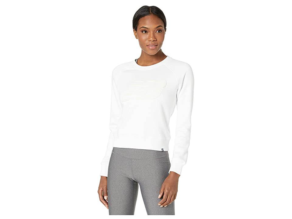 New Balance Chenille Brushed Crew Top (White) Women