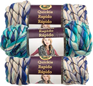 Lion Brand (3 Pack) Quickie Acrylic Blend Soft ICY Blue Yarn for Knitting Crocheting Super Bulky #6