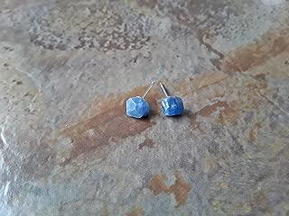 Raw Sapphire September Birthstone Minimalist Stainless Steel Stud Earrings