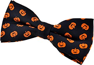 Joyful Fun Happy Halloween Pattern Woven Pre-tied Bow Tie (4.5
